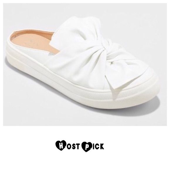 Monisha White Knotted Slip On Sneakers